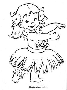 View template for Hula girl coloring page