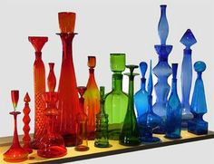 glasses, glass collect, mid centuri, midcenturi glass, glass bottl, color glass, rainbow, colored glass, beauti color