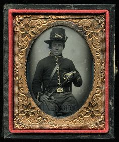 RARE Ruby Ambrotype Photo  Civil War Cavalry Soldier Armed with Sword