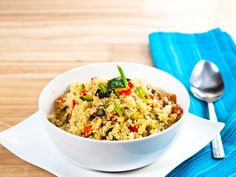 Try this couscous with sun-dried tomatoes. Just 254 calories per serving. #summer #recipe