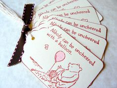 Winnie the Pooh Gift Tags - Classic Pooh Piglet - Baby Shower Favors - Birthday Favors - Balloon