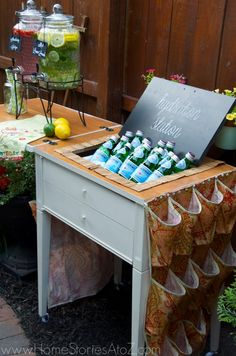 Drink station made from old sewing machine cabinet. | Home Stories A to Z