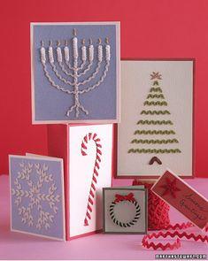 Rickrack Christmas Cards | 49 Awesome DIY Holiday Cards