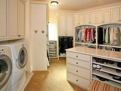 This is how you have a closet. With the washer and dryer in it so you don't have to carry clothes around the house!