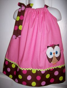 Owl Pillowcase Dress Pink Green Perfect for Birthday by molliepops, $28.00