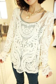 Free Shipping Relaxed Embroidered Perspective Lace Blouse from Woman Fashion on Storenvy