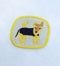 """Pet Brooch - """"Old airedale and his friend Ducky"""" -  Funny Dogs - collection, hand embroidered textile jewelry"""