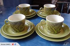 Crown Lynn Cups & Saucers & Plates - love the green
