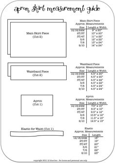 pattern sizes for making little apron skirts