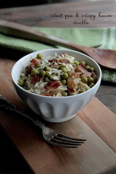 Sweet Pea and Crispy Bacon Risotto