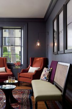 reider interior, boston, chairs, lounges, interiors, colors, grey wall, dark walls, rachel reider