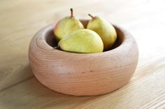 Gorgeous hand-turned white oak wooden bowl finished with natural orange oil and beeswax