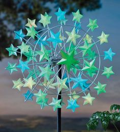 star metal, glow star, garden, metal wind