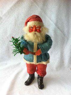Vintage Christmas Collectible ~ All Original German Paper Mache Santa Claus Candy Container * Circa, 1910