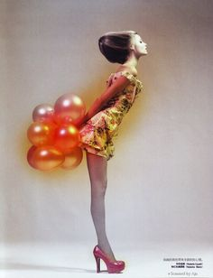 Solve Sundsbo, shot Magdalena Frackowiak for Vogue China's April 2009 issue, using lots and lots of balloons