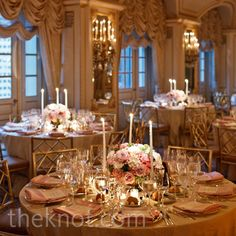 Pink Floral and Candle Centerpieces