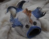 felted cat fish bed