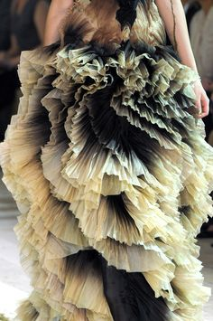 Alexander Mcqueen, pleated black and cream ombre ruffles, ethereal, earthy