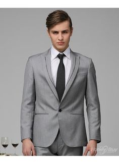 One button peak lapel jetted pocket tipped suit