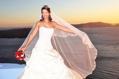 long wedding bridal veil santorini wedding