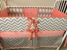 Coral Gray and White Chevron Baby bedding Crib set by abusymother, $50.00
