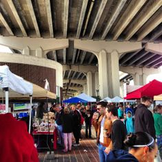 Every Saturday from 10 to 4pm. Riverside Arts Market. Great local vendors and an awesome layout underneath the bridge.