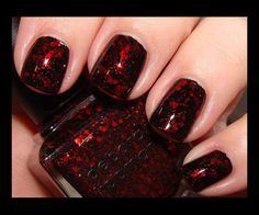Dark, yet playful, Lippmann Ruby Red Slippers ($18) is an enigma. With a black base and small square/large hexagonal red glitter, each nail is unique and almost a work of art. This reminds me of sexy lace and could be pulled off by just about anyone. I applied this over a black nail polish base as the base of Ruby Red Slippers is somewhat sheer.