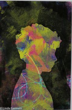 Masking stencil print - Linda Germain