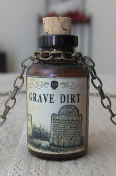 Grave Dirt Potion Poison Bottle Necklace Pendant Apothecary Vial