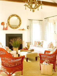 Bright painted wicker furniture