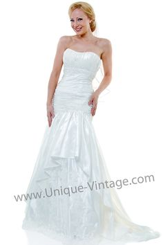 Les Soirees Ivory Strapless Ruched Wedding Gown - $398.00