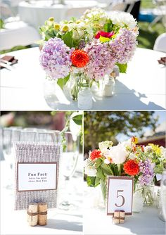 Rustic Table Number and Centerpiece Idea
