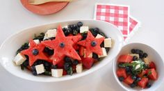 Star Spangled Salad #healthy #july4th #fourthofjuly #party #partyfood #patrioticfood #redwhiteandblue #cheapeats #fruit #recipes #salad