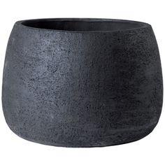 $15 -  9-in H x 13-in W x 13-in D Dark Gray Clay Outdoor Pot