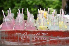 frap. bottles!? idea, lemonad bar, bats, lemonade, bat mitzvah, old crates, drinks, vintage coke crates, parti