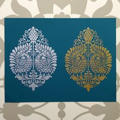 Our new Annapakshi Indian Damask Stencil. What do you think? Silver or Gold?