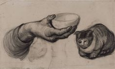 It's Museum Cats Day today! Vincent van Gogh (1853-1890), Hand with a Bowl, and a Cat, 1885. Van Gogh Museum, Amsterdam (Vincent van Gogh Foundation).