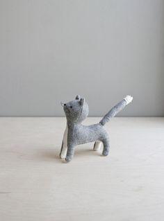 grey cat / soft sculpture animal by ohalbatross on Etsy