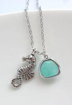 Sea Horse Pendant. Mint Green Glass. Nautical Ocean