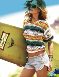 From wolfysmile.tumblr.com short, surfer girls, surfs up, knit sweaters, beach outfits, crochet sweaters, beach fashion, fashion editorials, summer chic