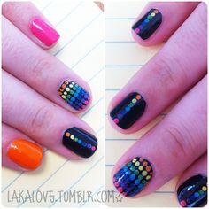 laka love rainbow polkadot love rainbow dot nails