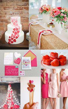 pink and red valentines wedding, valentines wedding, valentines day wedding ideas