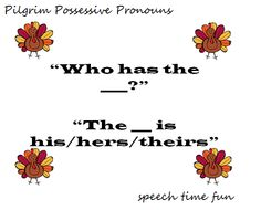 Speech Time Fun: Pilgrim Possessive Pronouns FREEBIE! Pinned by SOS Inc. Resources @sostherapy.