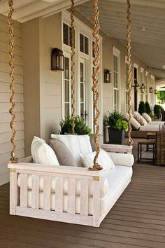 Porch swing, love the rope to disguise the chain
