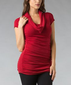 Take a look at this Red Ruched Cowl Neck Tunic by Zac Studio on #zulily today!