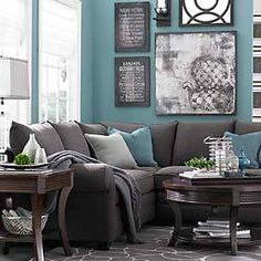 Slightly darker blue and this would be perfect!! Maybe cream walls and blue accents with leather couch!!