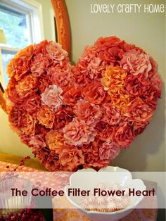 Coffee Filter Flowers Valentine's Heart Tutorial