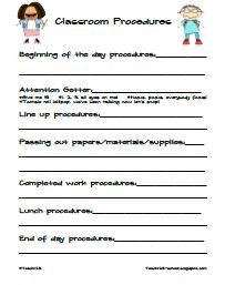 From TEACH123- FREE Classroom Procedure worksheet from Emergency Sub Plan packet.