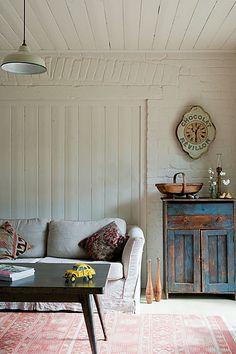 Red Brick Barn - vintage rustic modern farmhouse living room