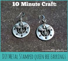 #DIY Stamped Queen Bee #Earrings #Turorial